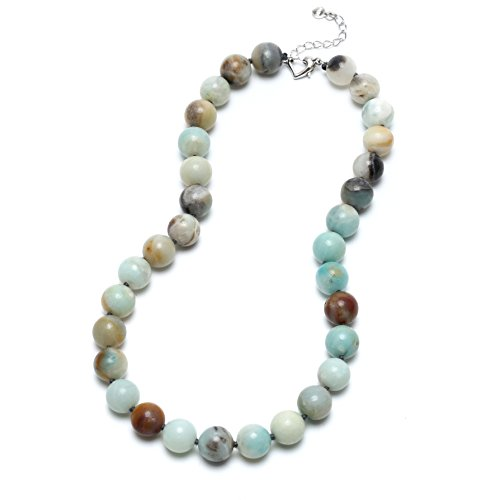 12mm Beaded Necklace - Aobei Natural Amazonite Chunky Necklace Hand Knotted 12MM Gemstone Beaded Handmade Jewelry for Women 18''