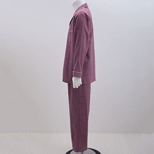 (ワコール)Wacoal 睡眠科学 メンズ 定番 綿混 シャツパジャマ 前開き 上下セット ML