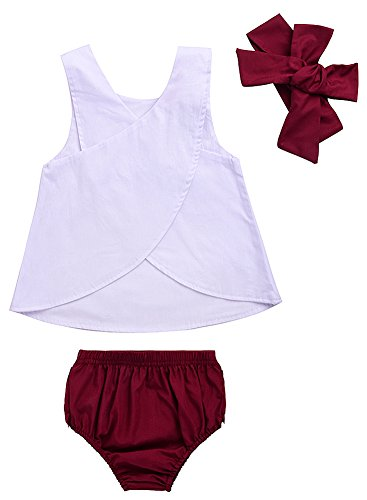 Sziyu 3pcs Baby Girls Rabbit Printed Cross Shirt+Ruffled Leaf Short Pants+Headband Outfit Set (3-6M/Tag 70, Red)