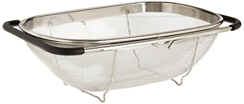 Uniware Over The Sink Colander Strainer, Large, 13.5 x 9.3 Inch, Stainless Steel, (Large Sink Strainer)