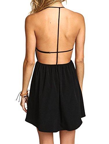 SheIn Women's Halter Open Back Black Dress (S, Black)