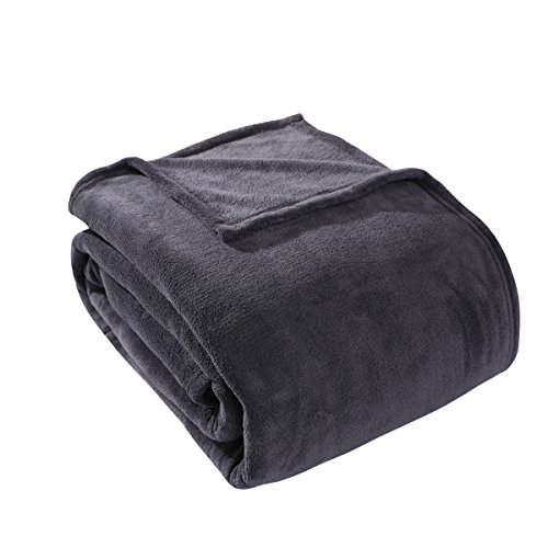 HYSEAS Coral Fleece King Size Plush Bed Blanket, Dark Gray