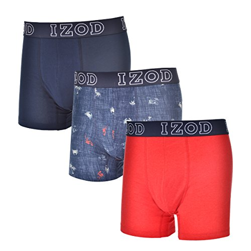 IZOD Mens 3 Pk Stretch Boxer Brief Dress Blues/Dress Blues Print/Racing Red Heather L