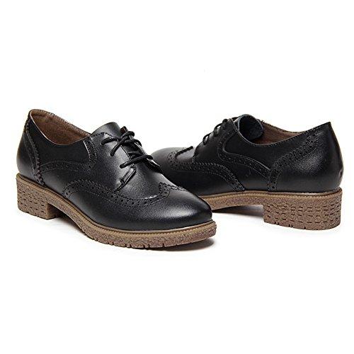 Shenn Mujer Con Cordones Cuero Brogue Zapatos de Vestir 588 Negro