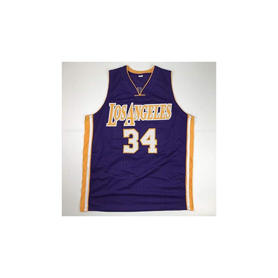 Autographed/Signed Shaquille Shaq O'Neal Los Angeles LA Purple Basketball Jersey JSA COA
