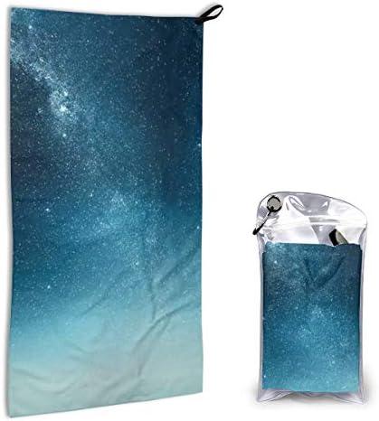 銀河の星空 フェイスタオル 速乾タオル カラビナ 収納バッグ付き 運動タオル おしゃれ 薄くて軽い 吸水速乾 スポーツタオル 40x80cm