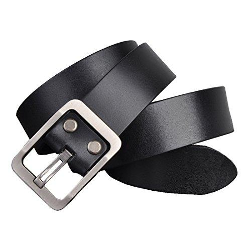 Soft Leather Buckle Belt (HuaDa Men's Soft Top Grain Buckle Leather Belt Black)