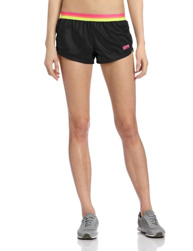 (Soffe Women's Stripe Elastic Short, Black/Pink Glo, Small)