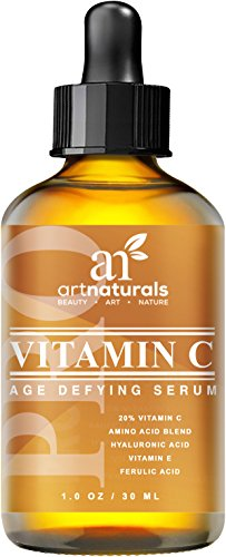Art Naturals Vitamin C Serum 20% w/Hyaluronic Acid & Vit E - Anti Aging & Wrinkle Repairs Dark Circles, Fades Age Spots & Sun Damage - Enhanced Top Vitamin C Super Strength - Organic Ingredients, 1 Oz - Vitamin Radiance Cream