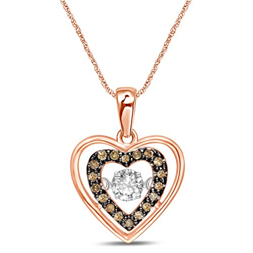 Diamond Jewel 10K Rose Gold 1/5 CT TW Champagne and White Diamond Dancing Heart Pendant Necklace