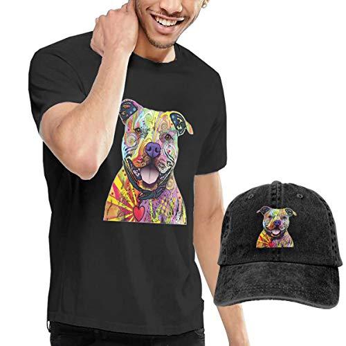 WWTBBJ-B Beware of Pit Bulls Adult Mens Summertime T-Shirts and Baseball Jean Hat Black (Best Sports Bloopers Of All Time)