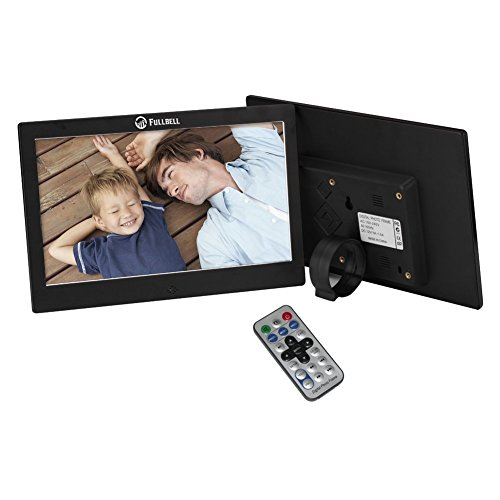 Digital Photo Frame 10 Inch 1024x600 High Resolution Screen Metal Digital Picture Frame with 16GB and IR Remoter - Black Metal Case Cover