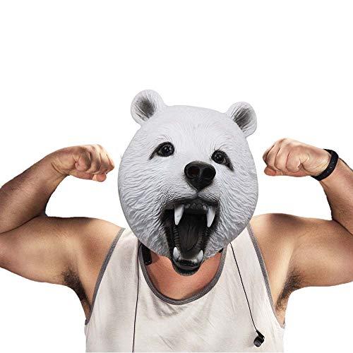 Polar Bear Mask (Wild Bear Animal Mask Latex Full Head Mask for Halloween Costume Party Cosplay (Polar)