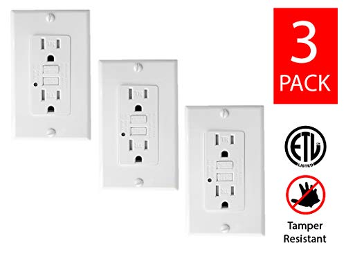 Teklectric - GFCI Receptacle 15A 125V Tamper Resistant + Wall Plate - GFCI Outlet 15 AMP 125 VOLT Grounded Tamper Resistant Wall Plate Included (3 Pack)