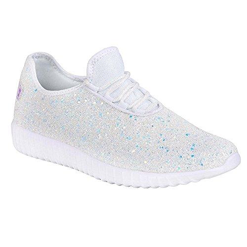 Brite Glitter - Women's Glitter Lace Up Fashion Sneakers Casual Dressy Versatile Fashion Light Weight Sparkle Slip On Wedge Platform Sneaker White 6