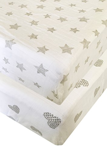 Seben Baby Crib Sheet 2 Pack - 100% Cotton Muslin - Unisex for Boys and Girls (Star and Heart)
