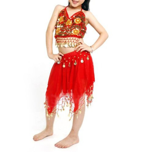 [TopTie Kid's Tribal Belly Dance Girl Skirt & Halter Top Set, Halloween Costumes RED-M] (Ideas For Halloween Costumes For Teenage Girl)