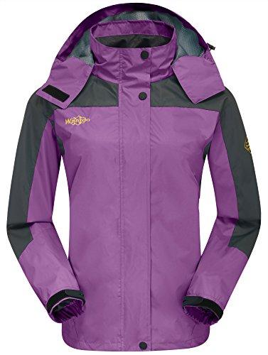 Wantdo Women's Nylon Jacket with Hood Outdoors Jacket for Travel Purple US (Ladies Nylon Jacket)