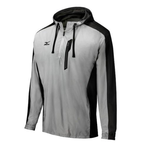 Quarter Zip Bonded Fleece (Mizuno Pro 1/4 Zip Windproof Hoodie, Grey/Black, XX-Large)