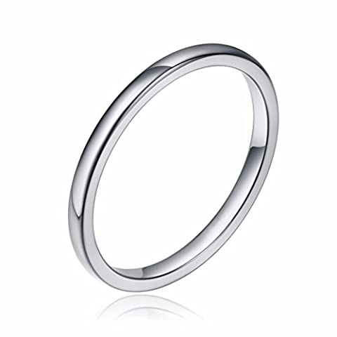 Three Keys Jewelry 2mm Women's Wedding Ring White Tungsten Carbide Wedding Band Engagement Ring Silver Polished Dome Size (Tungsten White Gold Ring)