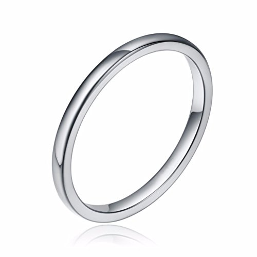 Three Keys Jewelry 2mm Women's Wedding Ring White Tungsten Carbide Wedding Band Engagement Ring Silver Polished Dome Size 4.5 ()