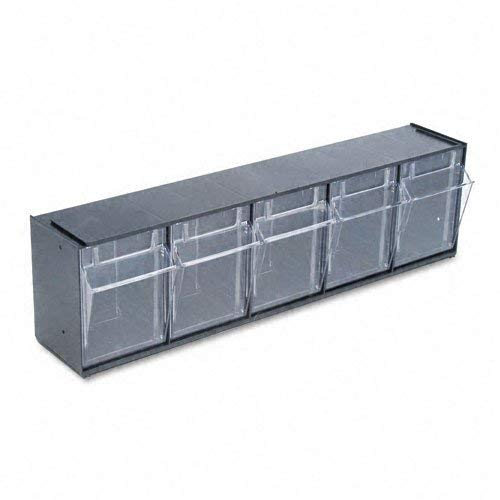 (deflect-o : Tilt Bin Plastic Storage System with Five Bins, 23 5/8 x 5 1/4 x 6 1/2, Black -:- Sold as 2 Packs of - 1 - / - Total of 2 Each (Renewed))