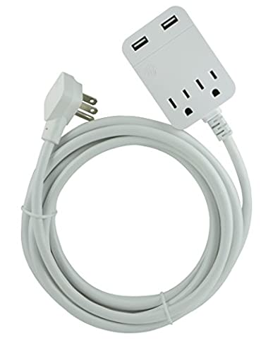 GE USB Charging Extension Cord with Surge Protection, 2 Outlet, 2 USB, 2.4A/12W, 12 ft. Cord, White, (Ge 12 Outlet Surge Protector)