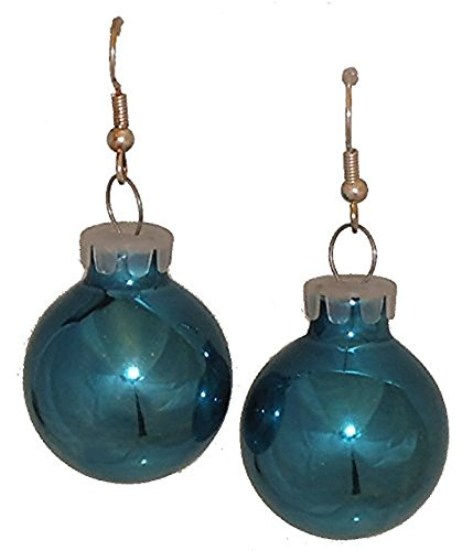 Teal Turquoise Color Holiday Glass Ornament Ball Dangling ()