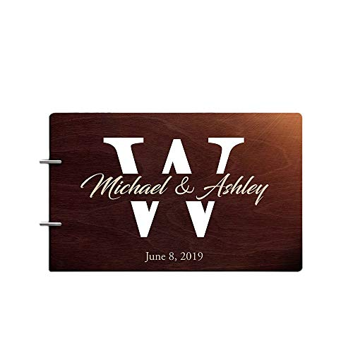 Engraved Book Guest (Just Customized Personalized Handmade Mr Mrs Wedding Guest Book for Bride and Groom Wood Alternative Custom Engraved Newlywed Marriage Album (Chocolate Walnut))