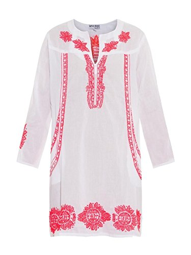 Ice LANDIC Sheep Experts HA1684_ M Pink Tunic White Embroidered with Tassels Tunic, Pink, 85x 43x 0.1cm (Whites Embroidered Tunic)