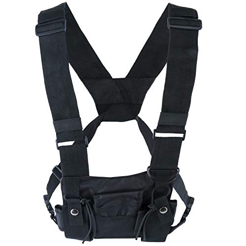 - Yaegoo Radio Chest Harness Chest Front Pack Pouch Holster Vest Rig for Two Way Radio Walkie Talkie(Rescue Essentials) (Black)