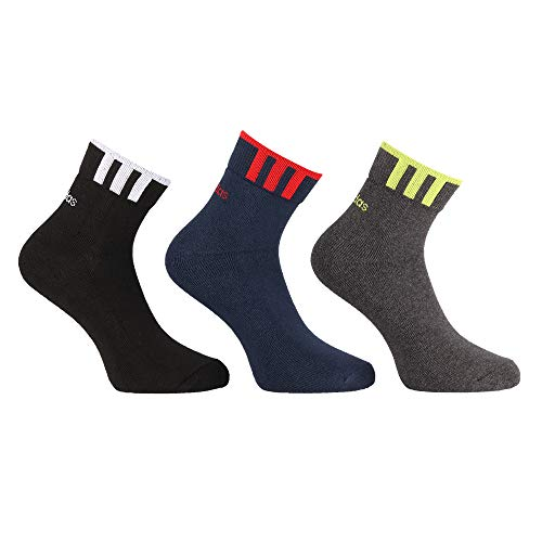 Adidas Half Cushion High Ankle Unisex Free Size Cotton Socks – Pack of 3 (Black/Navy/Anthra Mel)