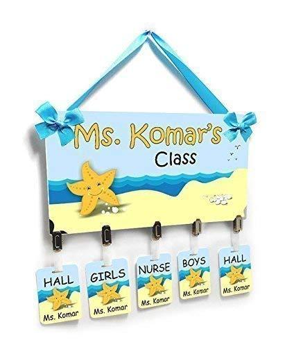 Personalized Hallpasses Door Sign Beach Theme Funny Starfish ()