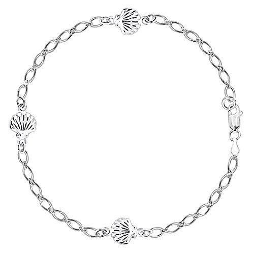 Sea Shell Fancy Chain Anklet In Sterling Silver, ()