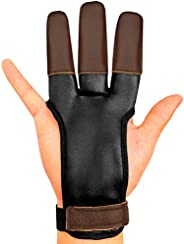 KESHES Archery Glove Finger Tab Accessories - Leather Gloves for Recurve & Compound Bow - Three Finger Gua