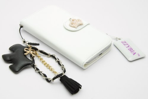 ZZYBIA® S4 HCD bla White Leatherette Stand Case Card Holder Wallet With Black Dog Fringed Dust Plug Charm for Samsung Galaxy S4 IV I9500 I9505