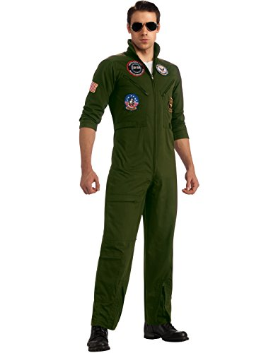 Top Gun Secret Wishes Flight Suit, Green Khaki, X-Large Costume