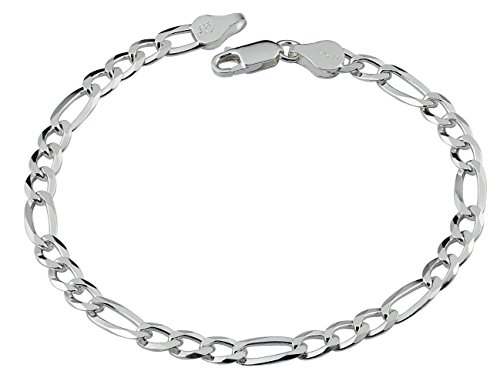 D Jewelry 925 Sterling Silver Solid Flat Figaro Chain Bracelet Gauge 150 (9) (8 Inch Figaro Silver Plated)