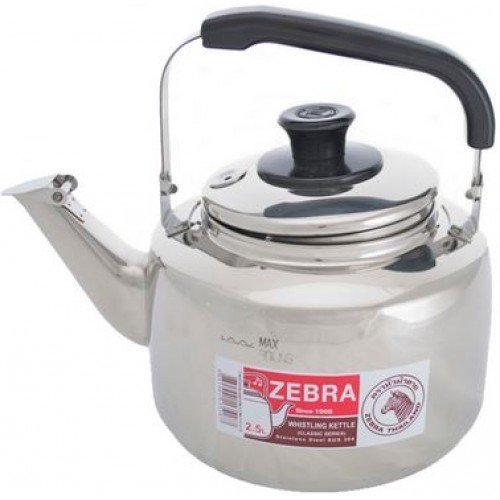(Extra Large Size 7.5 Liter Zebra Polished Mirror Finish Stainless Steel Whistling Canister Stovetop Teakettle Tea Kettle Teapot, Gas Electric Induction Compatible by Zebra)