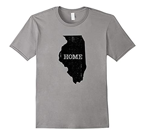 Mens Illinois Home Love Vintage state map outline shirt gift 2XL Slate