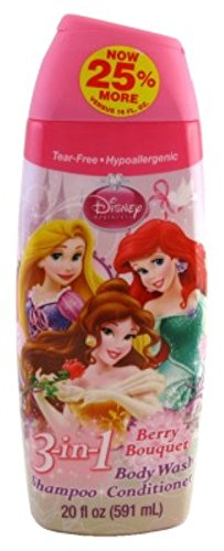 Disney Princess Body Wash 3-In-1 20 Ounce Berry Bouquet (591ml) (6 Pack)