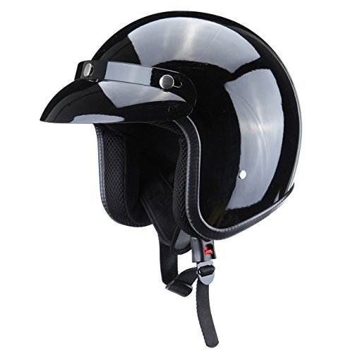 PanelTech Gloss Black DOT Approved Adult Safety 3/4 Open Face Crash Helmet for Scooter Cruiser (M) (Helmet Scooter Face)