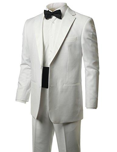 MONDAYSUIT Men's Modern Fit 2-Piece Suit Blazer WHITE Tuxedo & Trousers