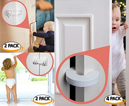 8pk - Finger Pinch Guard - 4pk. Baby Proofing Doors Made Easy with Soft Yet Durable Foam Door Stopper. Prevents Finger Pinch Injuries, Slamming Doors, and Child or Pet from, Child Safety Cabinet Lock