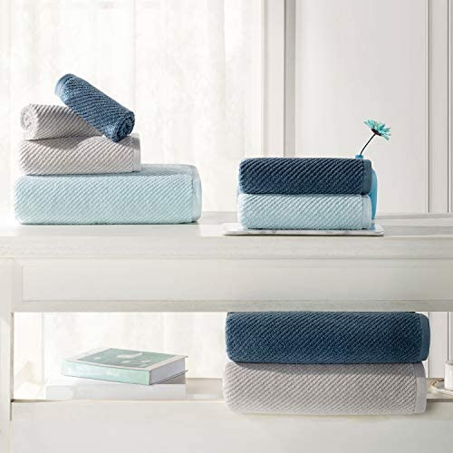 Alfred Sung Home 100% Cotton Quick Dry Textured Bath Towel Set, 6 Piece Set, Includes 2 Bath Towels, 2 Hand Towels and a couple of Washcloths, Highly Absorbent, Fast Drying, Luxury Bathroom Towels (Lagoon Blue)