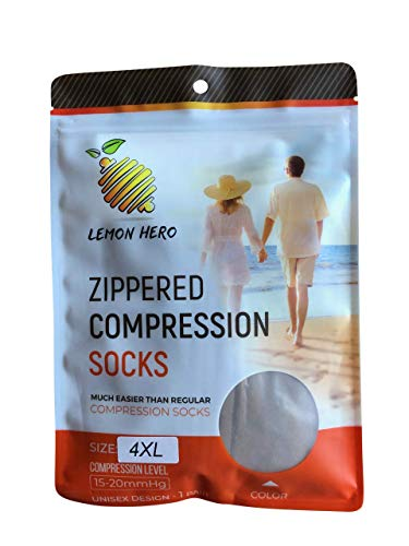 Zippered Medical Compression Socks with Zipper Safe Protection & Open Toe (Sizes Med to Wide 6XL)- Support Stockings for Men & Women (4XL - Calf 19-21in Beige)