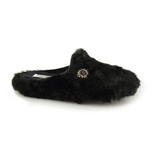 Fluffys RACHAEL Ladies Mule Slippers Black Black