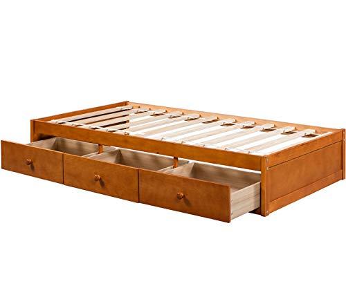 BEIZ & PENZ Solid Wood Bed Platform Storage Bed with 3 Drawers Storage Twin Size (Oak)