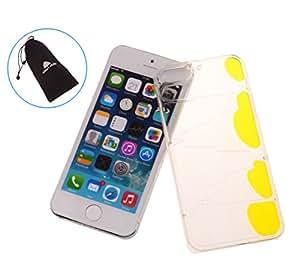 21st Century Plastic Transparent Liquid Hourglass Case for Apple iPhone 5 5S (Yellow)