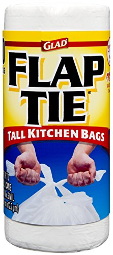 Glad Tall Kitchen Flap Tie Trash Bags - 13 Gallon White Trash Bag - 40 - Trash Load Side Door Access